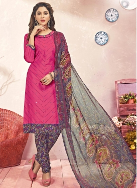 Purple and Rose Pink Trendy Straight Salwar Kameez