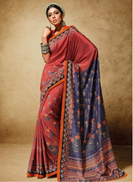Purple and Salmon Art Silk Traditional Saree