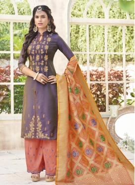 Purple and Salmon Palazzo Designer Salwar Suit For Festival