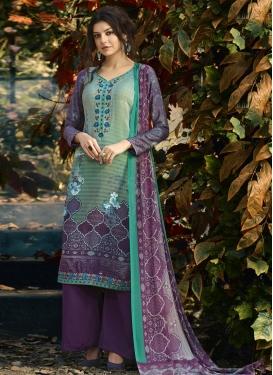 Purple and Sea Green Digital Print Work Palazzo Straight Salwar Suit