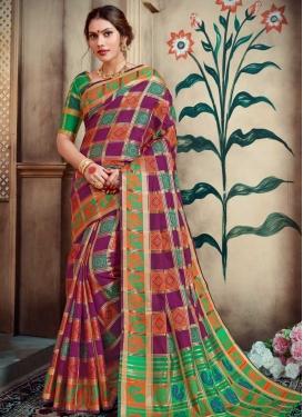 Purple and Sea Green Thread Work Contemporary Style Saree