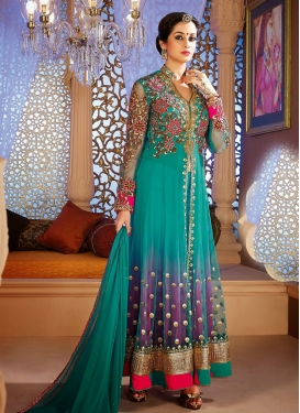 Purple and Sea Green Trendy Salwar Kameez