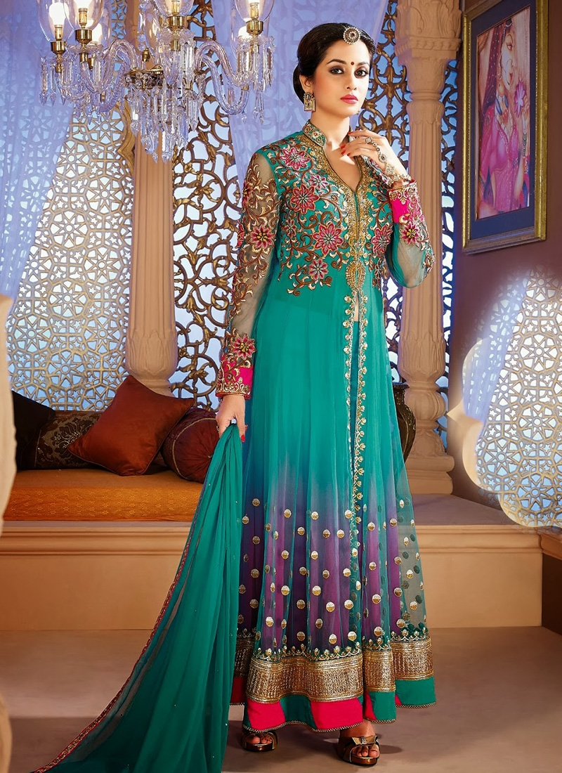 Buy Purple and Sea Green Trendy Salwar Kameez Online In UK