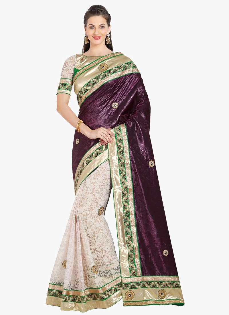 Purple and White Half N Half Saree