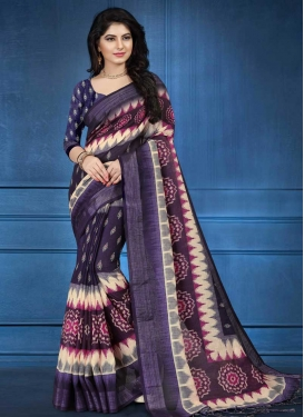 Purple and Wine Digital Print Work Trendy Saree
