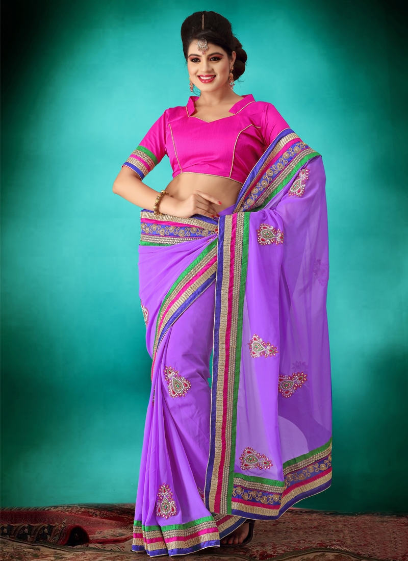 Purple Color Georgette Party Wear Saree