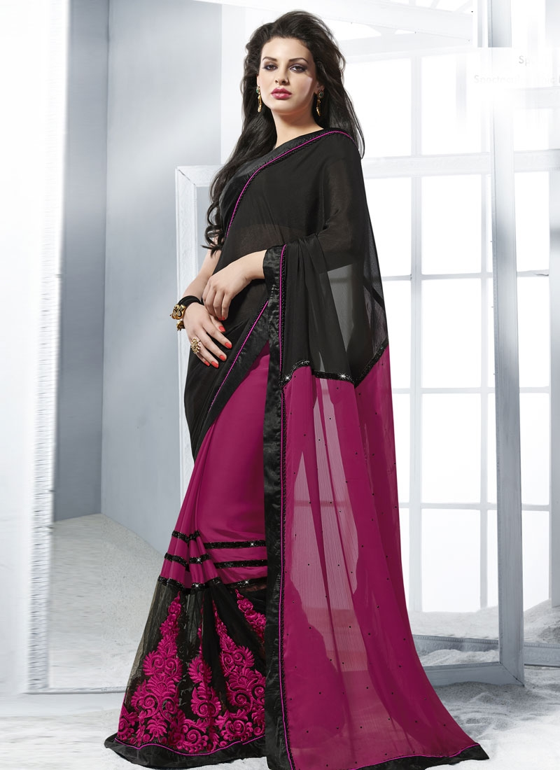Radiant Black And Fuchsia Color Party Wear Saree