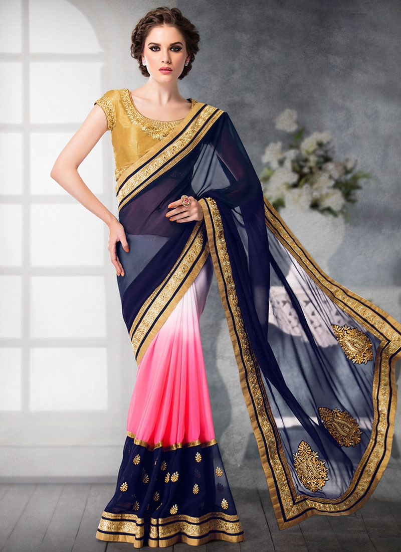 Radiant Booti Work Navy Blue Color Half N Half Designer Saree