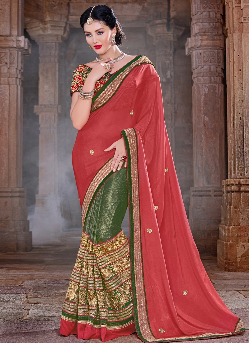 Radiant Bottle Green Color Net Half N Half Designer Saree