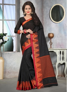 Radiant Cotton Silk Resham Work Contemporary Style Saree For Ceremonial