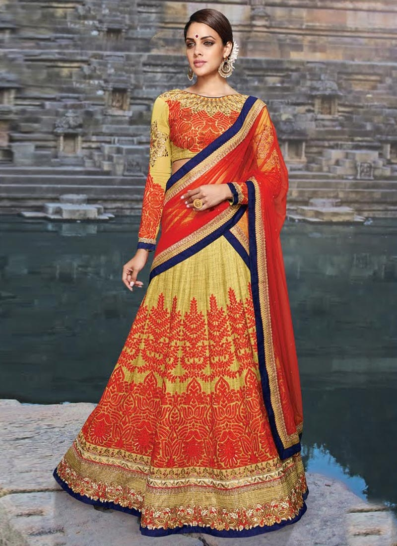 Radiant Embroidery And Stone Work Art Silk Bridal Lehenga Choli