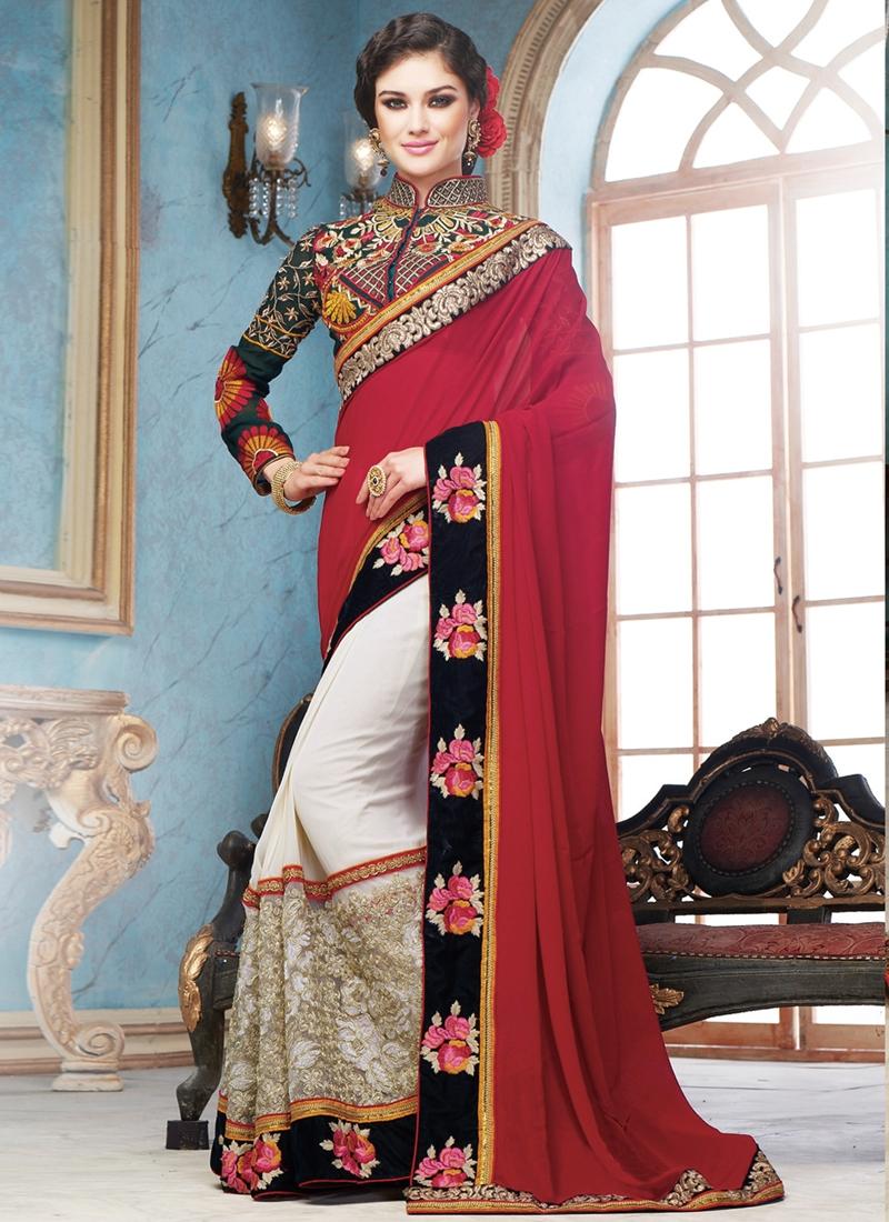 Radiant Embroidery Work Half N Half Wedding Saree
