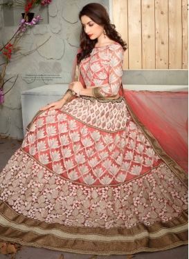 Radiant Embroidery Work Net Bridal Lehenga Choli