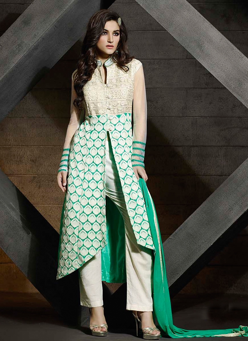 Radiant Embroidery Work Pant Style Designer Suit