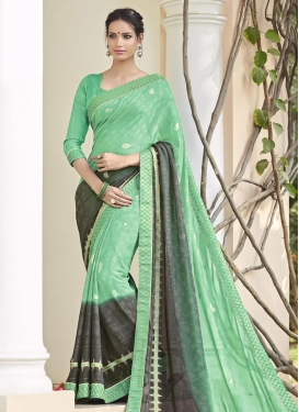 Radiant Lace Work Grey and Mint Green  Contemporary Style Saree