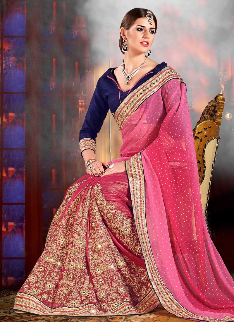 Radiant Mirror Work Wedding Saree