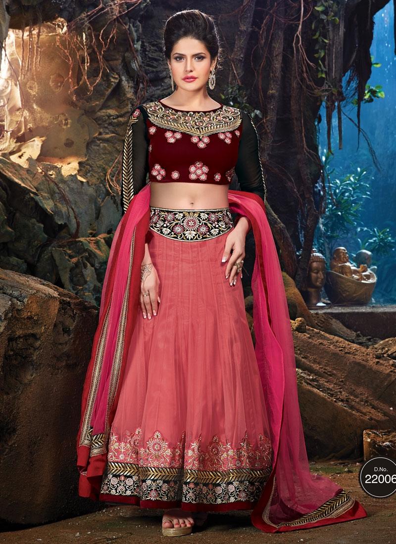Radiant Resham Work Net Zarine Khan Party Wear Lehenga Choli