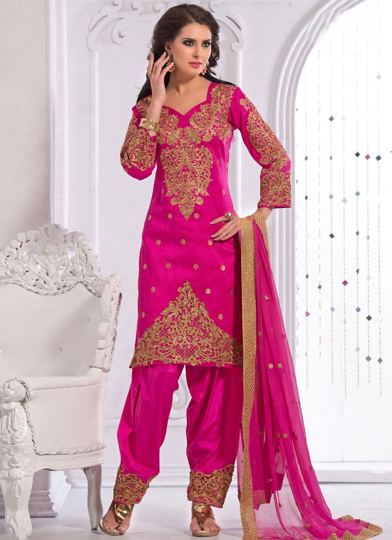 Radiant Stone Work Art Silk Patiala Style Designer Suit