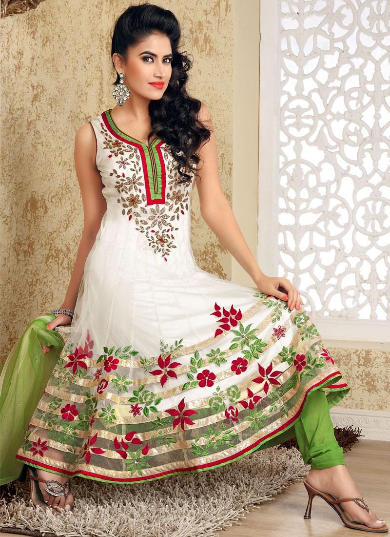 Ravishing Aloe Vera Green And Off White Salwar Suit