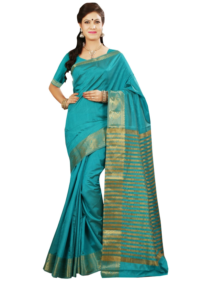 Ravishing Aqua Blue Color Resham Work Casual Saree