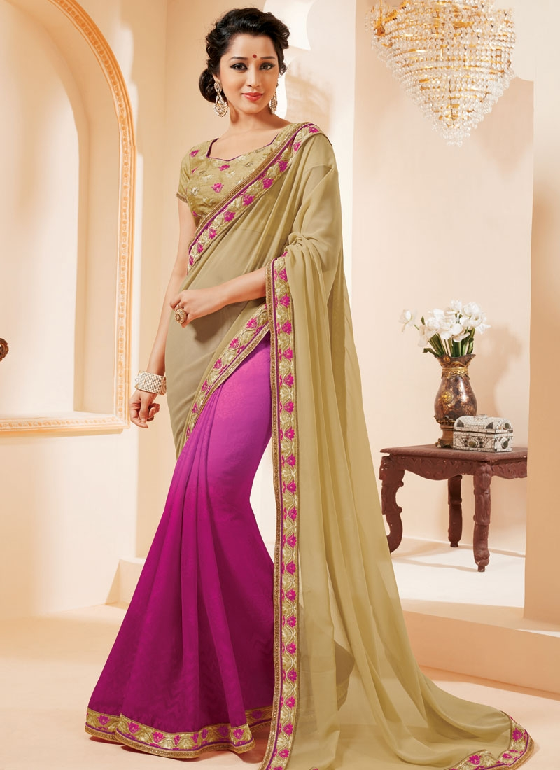 Ravishing Beige Color Resham Work Half N Half Party Wear Saree