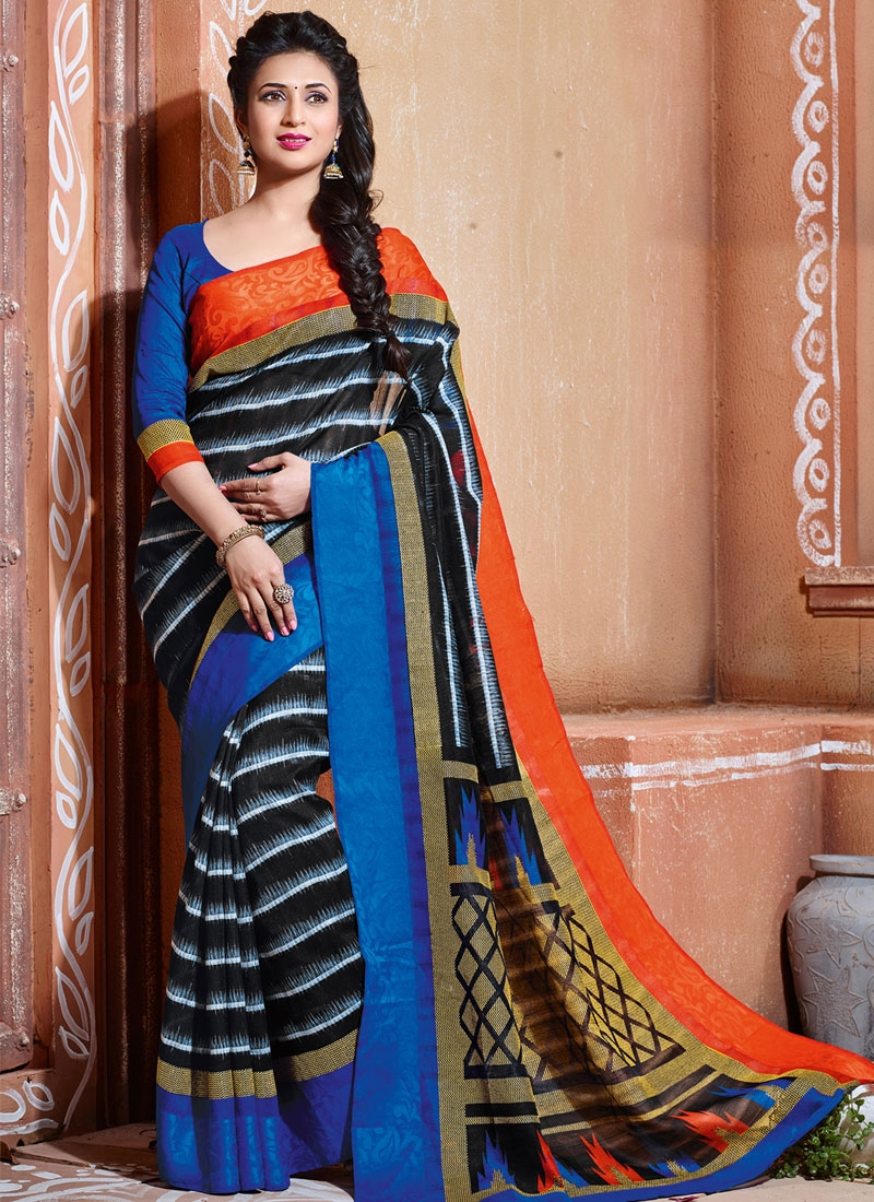 Ravishing Black Color Divyanka Tripathi Casual Saree