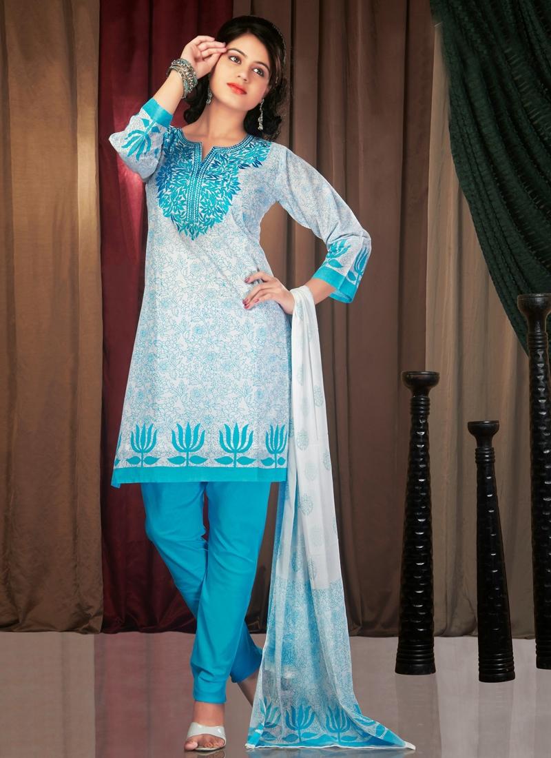 Ravishing Block Printed Readymade Churidar Suit