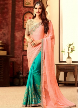 Ravishing Chiffon Satin Peach and Sea Green Lace Work Half N Half Designer Saree For Ceremonial