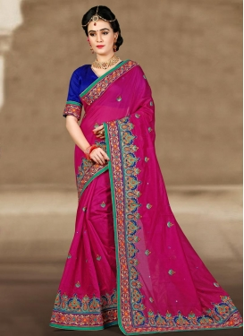 Ravishing Embroidered Work Chanderi Silk Traditional Saree