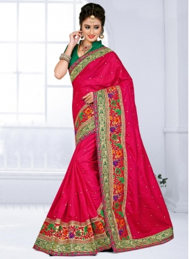 Ravishing Embroidered Work Green and Red Classic Saree