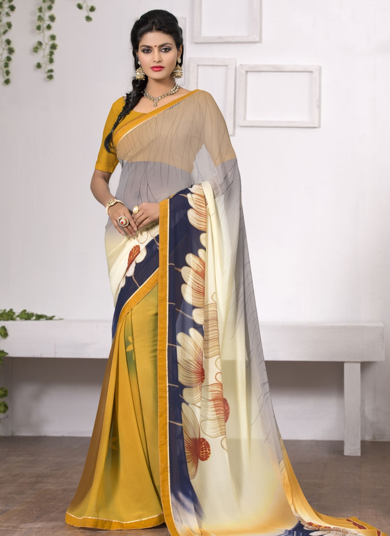 Ravishing Faux Georgette Lace Work Casual Saree