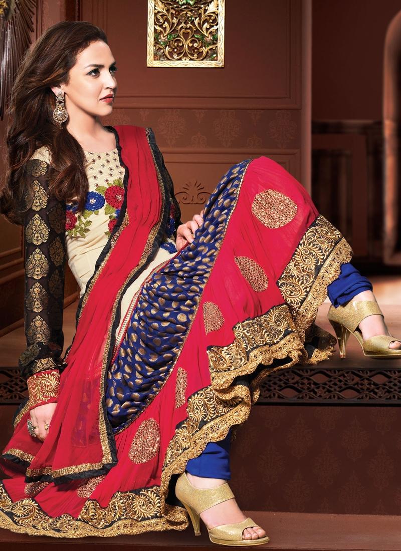 Ravishing Floral Work Esha Deol Bollywood Suit