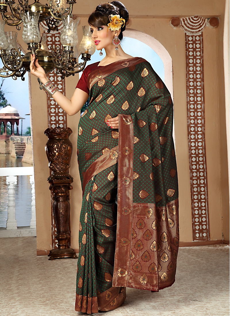 Ravishing Green And Burgundy Silk Saree