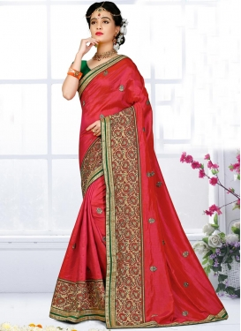 Ravishing Green and Red Lace Work  Traditional Designer Saree