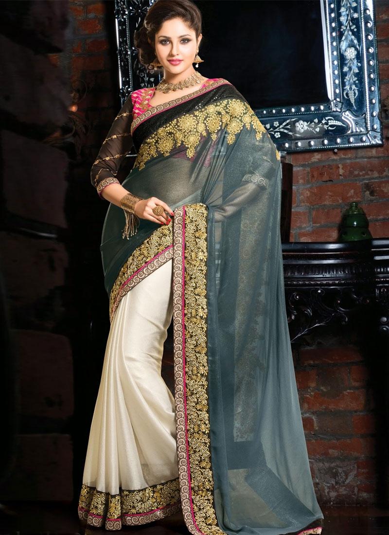 Ravishing Lace And Sequins Work Half N Half Wedding Saree