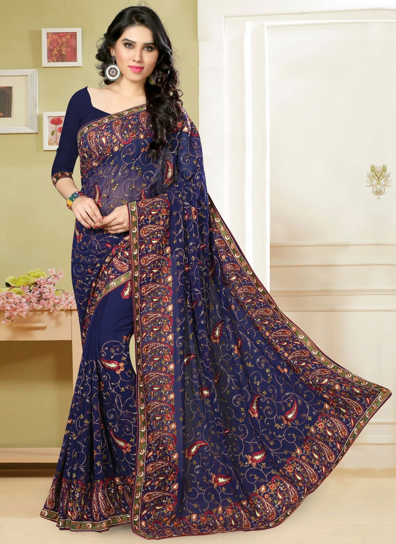 Ravishing Navy Blue Color Stone Work Wedding Saree