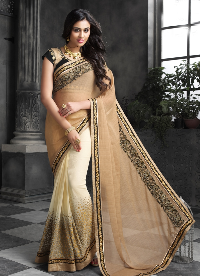 Ravishing Net Half N Half Designer Saree