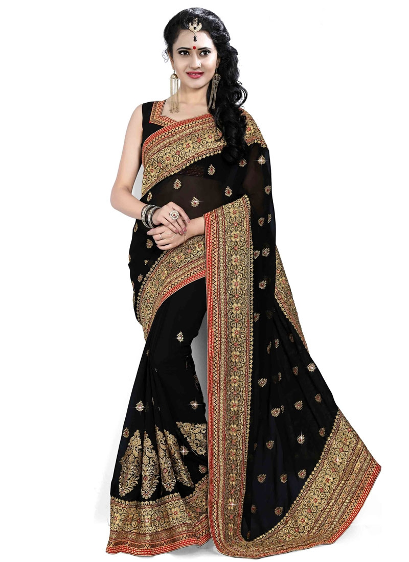Ravishing Patch Border Work Black Color Designer Saree
