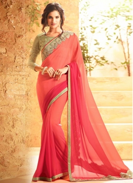 Ravishing Peach and Rose Pink Lace Work Faux Georgette Contemporary Style Saree For Festival
