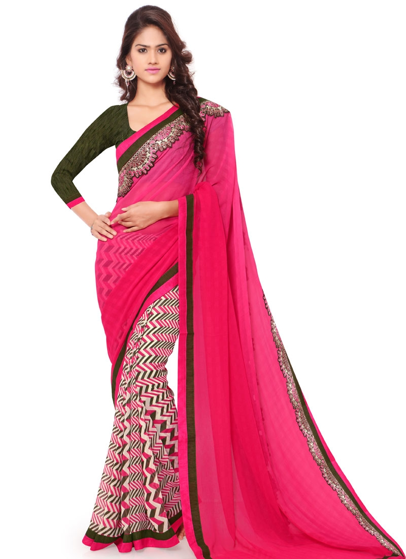 Ravishing Printed Half N Half Casual Saree