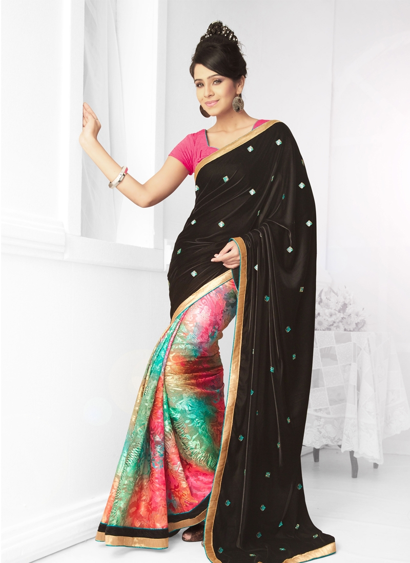 Ravishing Stone Enhanced Half N Half Saree