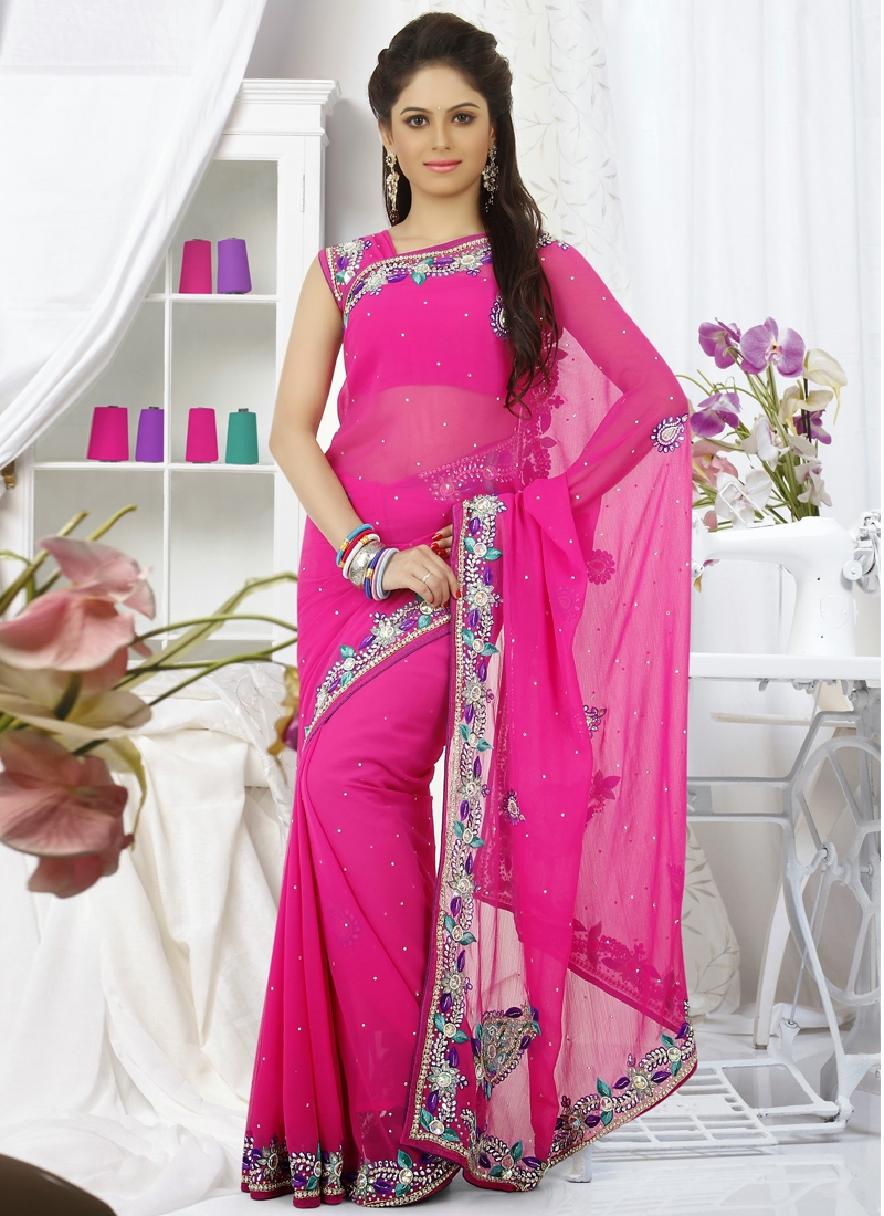 Ravishing Stone Enhanced Party Wear Saree