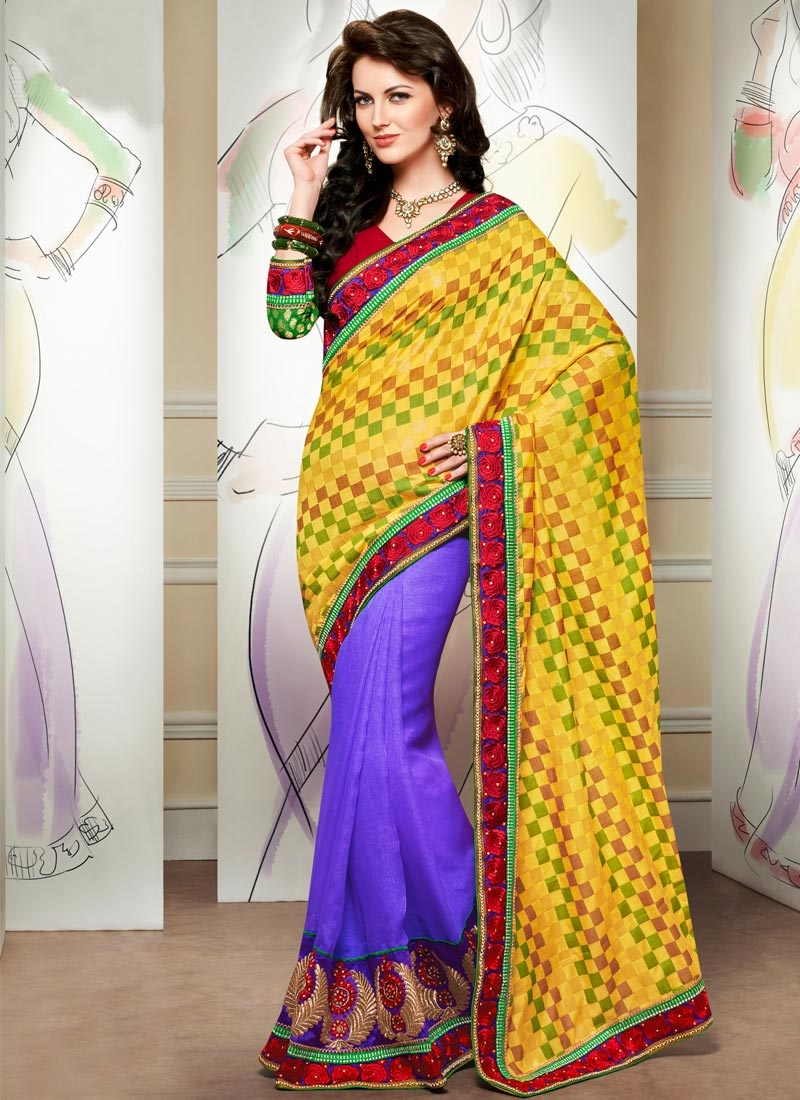 Ravishing Stone Work Jute Silk Half N Half Party Wear Saree