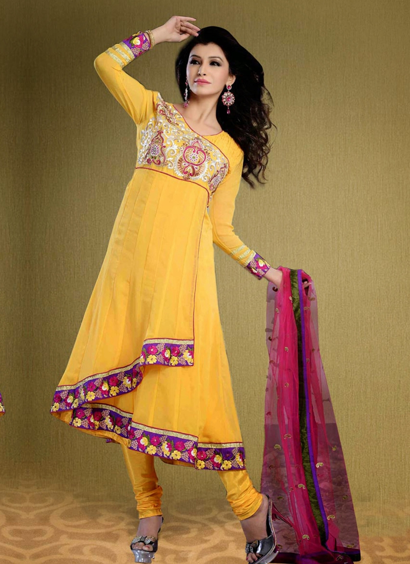Ravishing Yellow Color Georgette Party Wear Suit