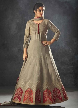 Raw Silk Embroidered Work Floor Length Anarkali Salwar Suit