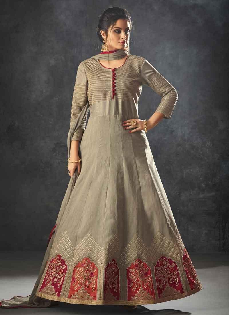 Raw Silk Embroidered Work Floor Length Anarkali Salwar Suit