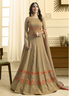 Raw Silk Embroidered Work Long Length Anarkali Salwar Suit