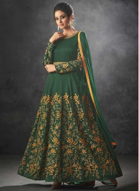 Raw Silk Embroidered Work Long Length Designer Anarkali Suit
