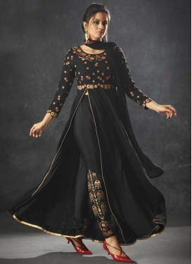 Raw Silk Embroidered Work Pant Style Designer Salwar Kameez