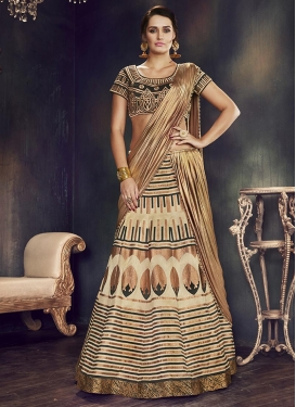 Raw Silk Embroidered Work Trendy A Line Lehenga Choli